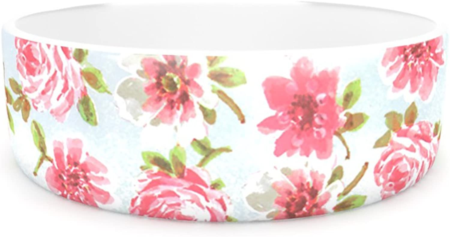 Kess InHouse Heidi Jennings Petals Forever  Pet Bowl, 7Inch, bluee Pink