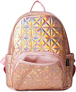 Woman Holographic Laser Laptop Backpack Travel Casual Daypack College School Bags(Purple) Gold Golden Pink L:13'' H:14'' W:6.5''