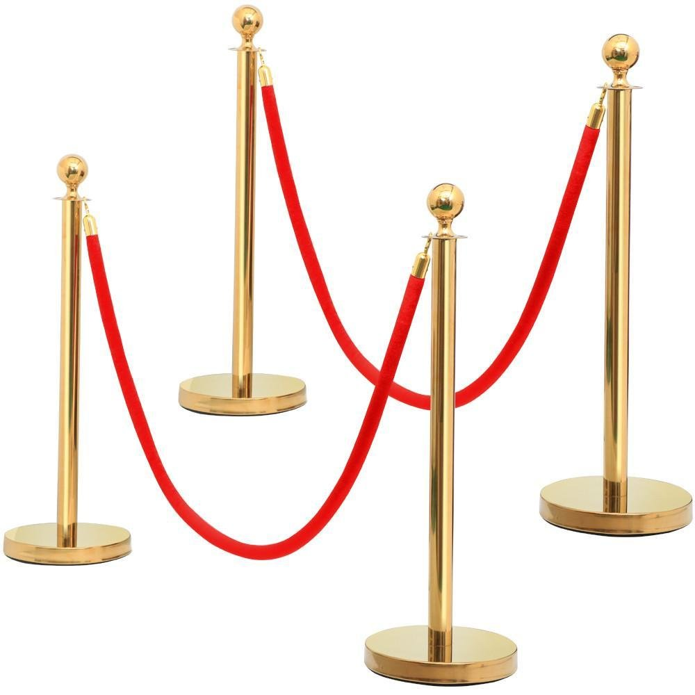 Yaheetech Stanchions Mail Sale price order cheap and Velvet Ropes Stainless S Top Gold Round