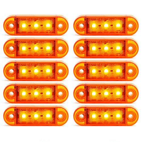 10x 3 LED Begrenzunsleuchten Positionleuchten Seitenleuchten 12V 24V Volt für LKW Bus Trailer Indikator Licht Seitenmarkierungsleuchte in 3 Farben (Rot, Gelb, Weiss) (Gelb)