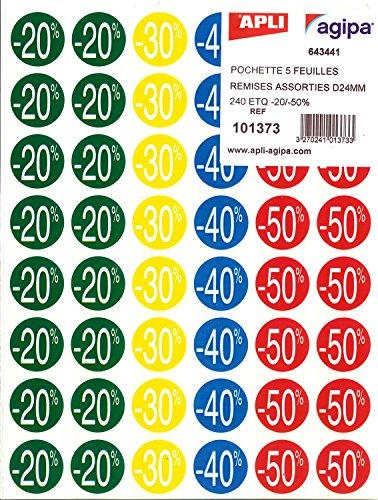 Apli 101373 Etichette per sconti forma circolare adesivo permanente, 101373 x 24 mm x 5H