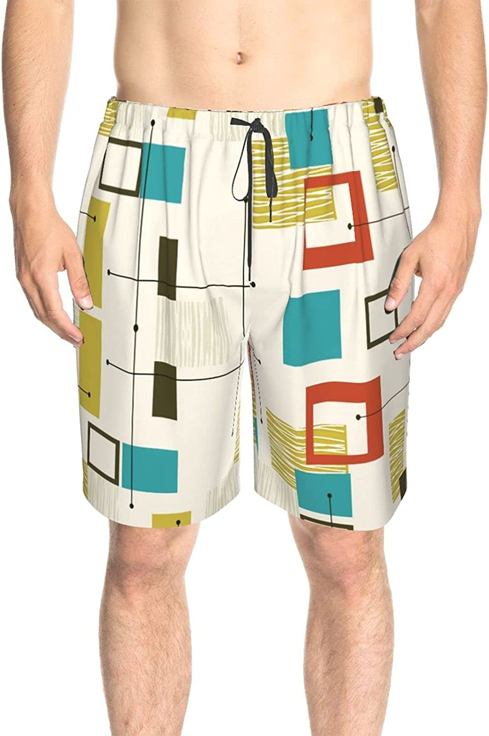 JINJUELS Mens Bathing Suits Abstract Geometric Figure Lines Swim Board Shorts Quick Dry Comfy Summer Boardshorts with Liner