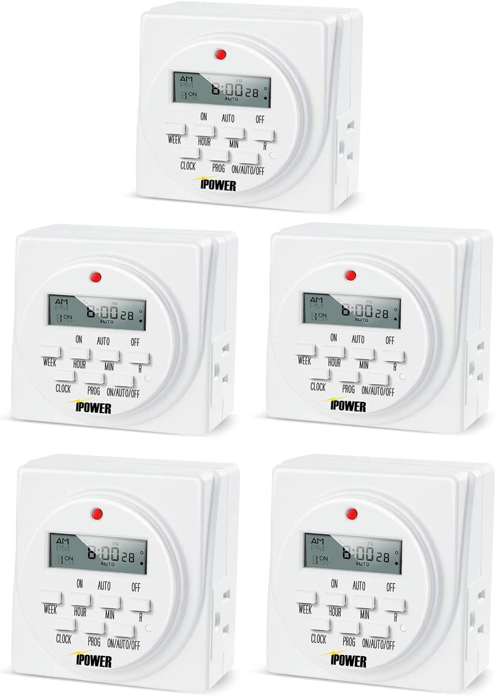 iPower GLTIMEDWEEKX5 5-Pack Indefinitely 7 Max 52% OFF Digital Electric Day Programmable