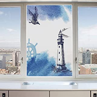 3D Decorative Privacy Window Films,Nostalgic Watercolors with Gull Ancient Anchor Lighthouse Nautical Theme,No-Glue Self Static Cling Glass Film for Home Bedroom Bathroom Kitchen Office 17.5x36 Inch