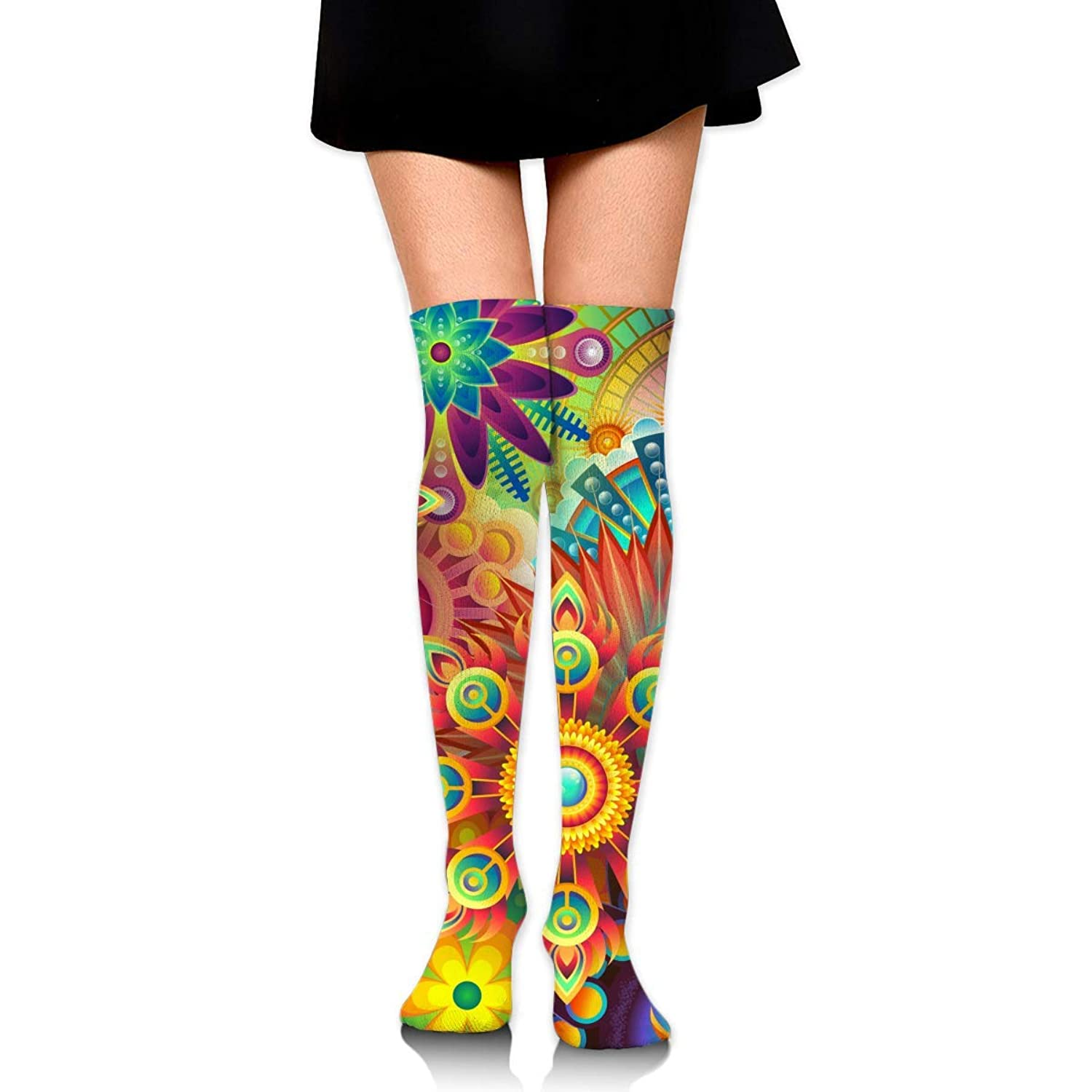 MKLOS 通気性 圧縮ソックス Breathable Knee High Leg Warmer Psychedelic Trippy Mandala Flower Exotic Psychedelic Print Compression High Tube Thigh Boot Stockings Women Girl