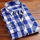 Camisas Manga Larga Hombre,Camisa A Cuadros De Manga Larga para Hombre Camisas Casuales De Algodón A Cuadros Azules Clásicas con Bolsillo Botones Padre Novio, M