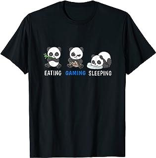 Herren Essen Gaming Schlafen Panda Video Game Computer Videogame PC T-Shirt
