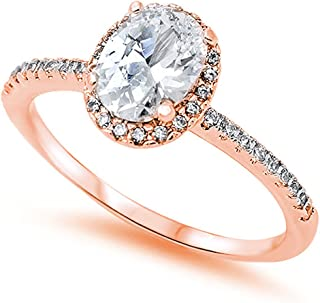Accent Halo Wedding Promise Ring Oval Cut Cubic Zirconia Round CZ Rose Tone Plated 925 Sterling Silver