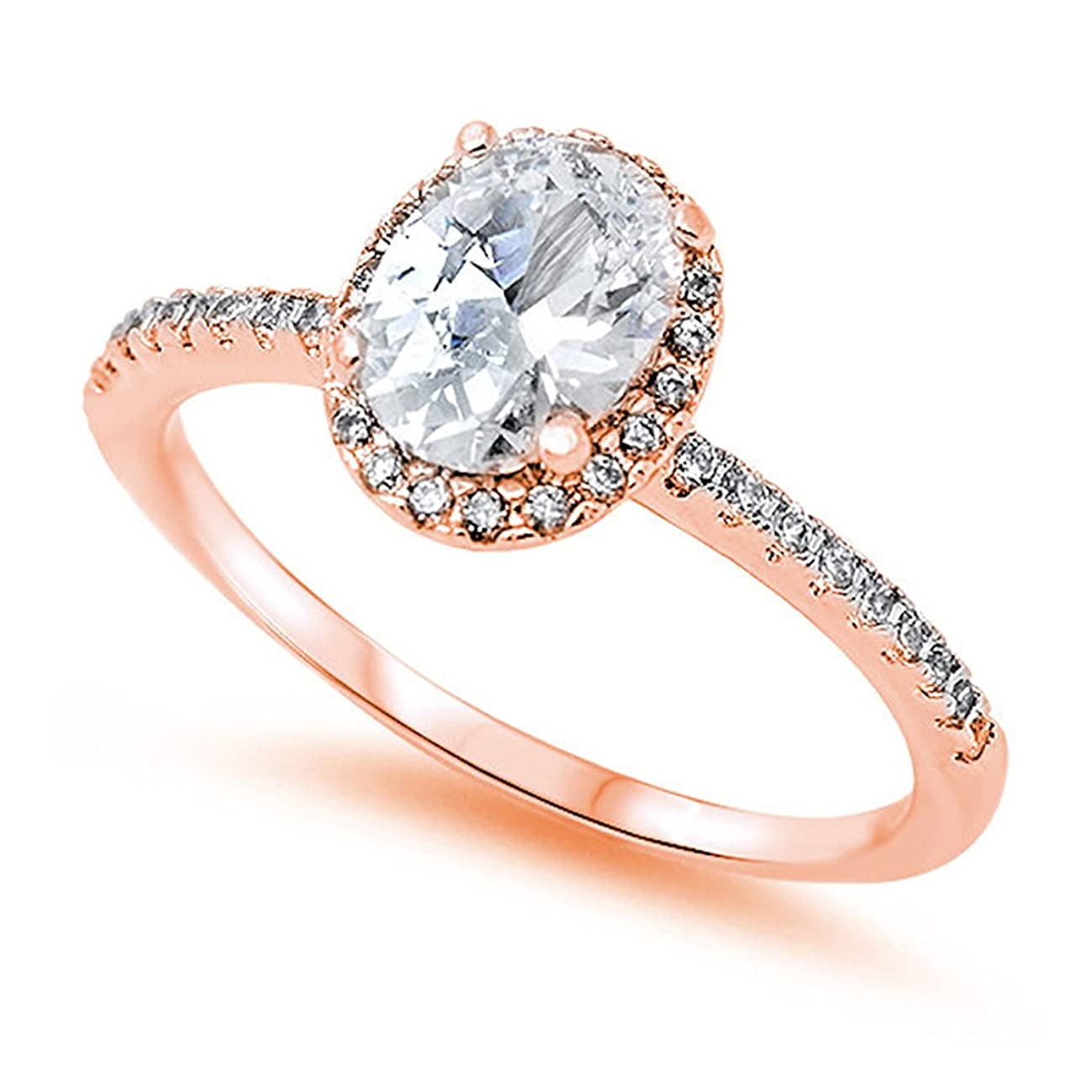 Blue Apple Co. Accent Halo Wedding Promise Ring Oval Cut Cubic Zirconia Round CZ Rose Tone Plated 925 Sterling Silver