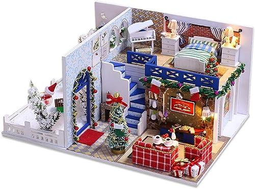 ahorre 60% de descuento WANGHHH Casa de Bricolaje Hecha a Mano azul casa de de de Navidad Modelo de Villa montada Juguete Creativo Regalo  en stock