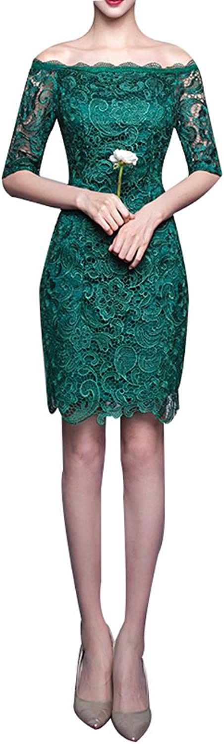 LISA.MOON Women's Off Shoulder Half Sleeves Lace Applique Homecoming Dress