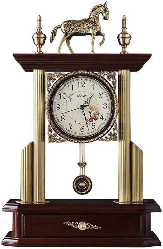 Reloj de manto nórdico de alta gama, reloj de chimenea de madera maciza de madera sólido Silencio Reloj de reloj antiguo Reloj de escritorio de la vendimia Regalo de reloj digital, adecuado para la de