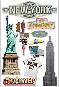 Paper House Productions STDM-0011E 3D Cardstock Stickers, New York City (3-Pack)
