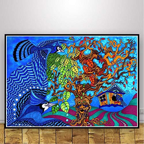 wZUN Psicodélico Animal cráneo ilusión Abstracta luz Negra Cartel Pared Arte Imagen impresión Pintura Lienzo Sala de Estar decoración del hogar 59x84cm Sin Marco