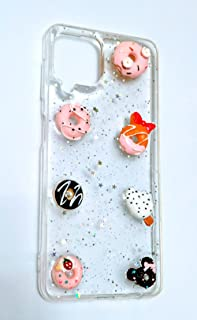 Transparent Glitter Back Cover 3D donates cake For samsung Galaxy A22 4G