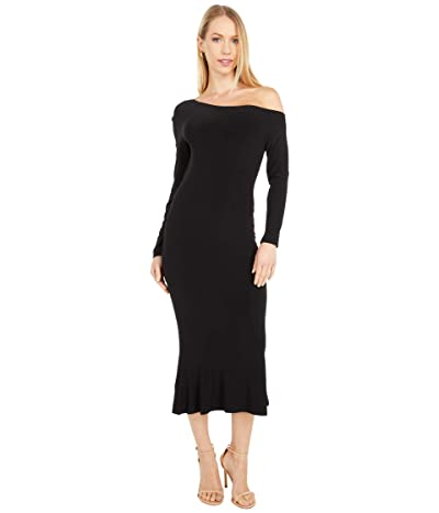 KAMALIKULTURE by Norma Kamali Long Sleeve Drop Shoulder Fishtail Dress To Midcalf