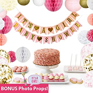 Sprinkleberry Baby Shower Decorations for Girl | Pink and Gold Party Decor | 44 Pcs Set with Bonus Photo Booth Props
