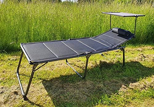WESTFIELD XL Sonnenliege anthrazit inkl. Sonnendach 193 x 67 x 48 cm belastbar bis 140 kg