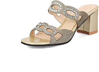 0535c3b4839fa9 Btrada Women s Sexy Rhinestone Hollow Slide Sandals Open Toe Slip On Crude  Heel Mules Pumps Dress
