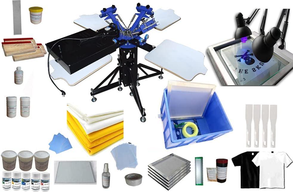 HayWHNKN free 3 Color 4 Station Silk Printing Fashion Screen Machine Pres Kit