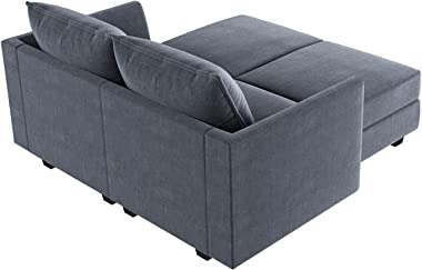 HONBAY Sectional Sofa with Chaise Modern L Shape Couch with Ottoman Modular Sofa Couch with Reversible Chaise, Bluish Grey