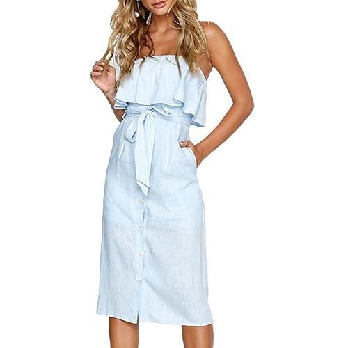 981ef36683c Belypoe Womens Flounce Lace up Off Shoulder Button Down Jumpsuit Dress with  Pockets