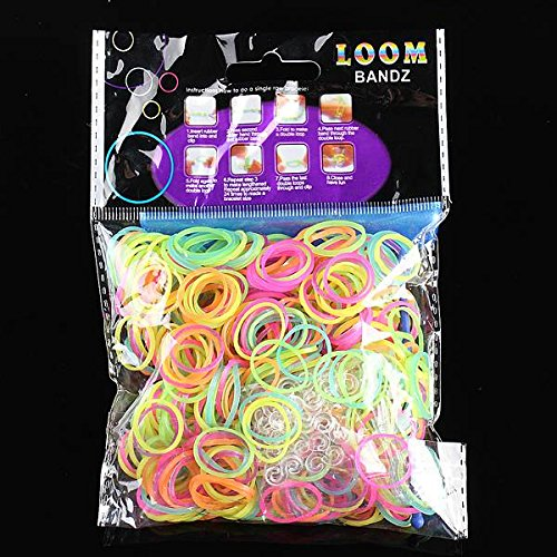 Generic 600Pcs Colorful Glow In The Dark Rubber Bands Loom With Clips Hook