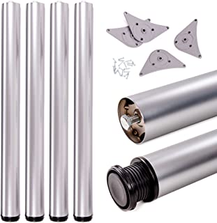 Juego de patas extensibles de mesa | Sossai® Premium TBAL | Óptica de aluminio | Altura regulable 710 mm + 20 mm | Set de 4 unidades