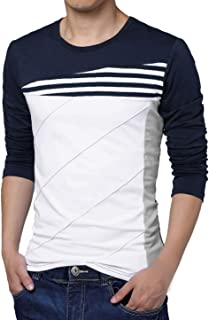 Men Color Block Striped Panel Round Neck Long Sleeve Pullover T-Shirt