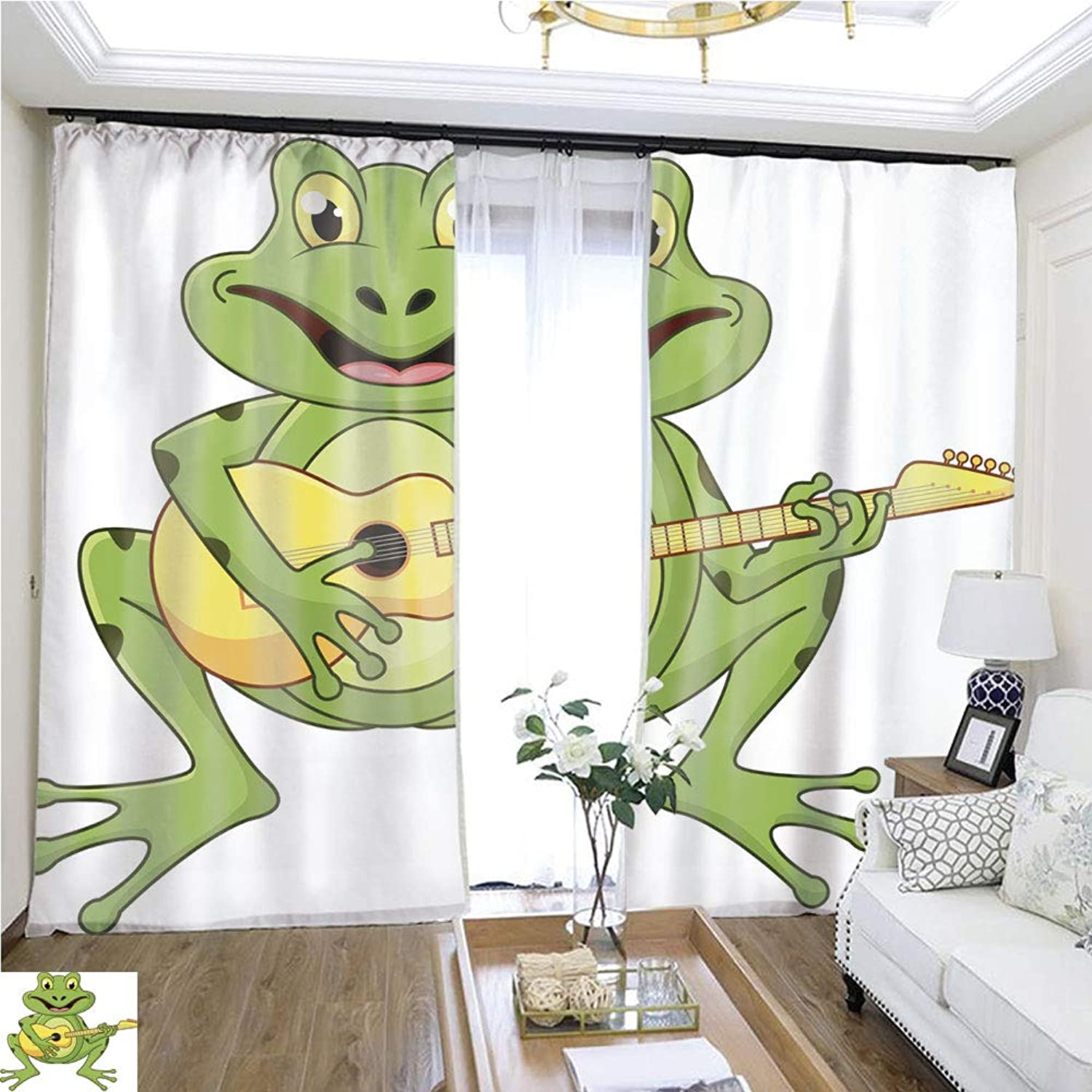 Air Port Screen Frog Singing with Guitar W96 x L168 Reduce Noise Highprecision Curtains for bedrooms Living Rooms Kitchens etc.