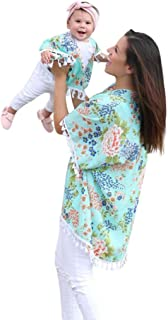 Mommy Me Dress,Women Baby Girls Flower Shawl Kimono Cardigan Tops Mom&Me Family Clothes Mother Daughter Matching Shirts