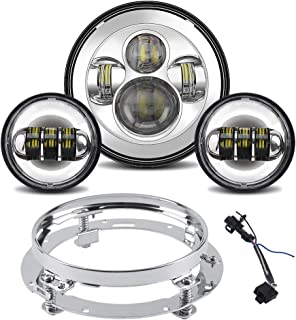 Tugwuetlwu 7 LED Headlight for Harley Davidson Road King Street Glide Electra Glide Road King Ultra Limited Heritage Softail Slim Deluxe Fatboy With LED Passing Lamps and Bracket Mounting Ring