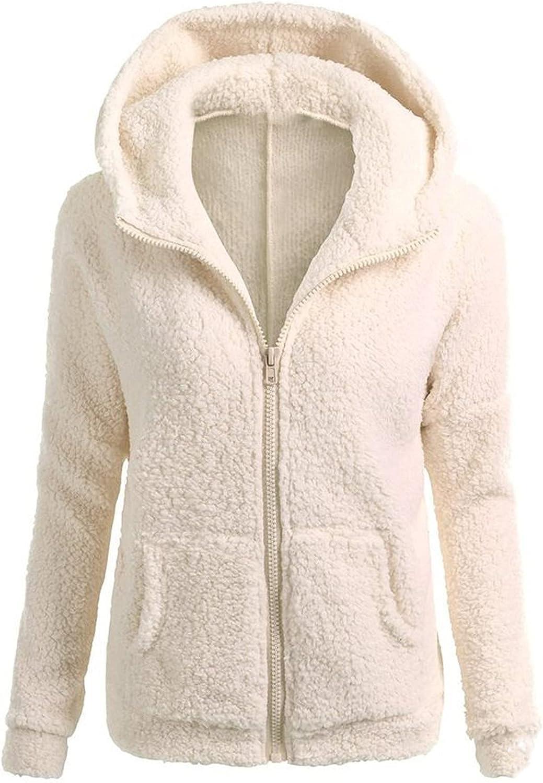 Women's Zip Ranking TOP9 Up Fleece Hoodie Coat Casual Sleeves Long Solid Zipp wholesale