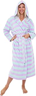 Alexander Del Rossa Women's Warm Fleece Robe with Hood, Long Plush Printed Bathrobe