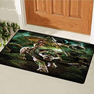 Fantasy World Welcome Door mat Graphics of Fantasy Scene with Girl and Saber-Tooth Tiger Magical Plants Galaxy Door mat is odorless and Durable W35.4 x L47.2 Inch Green