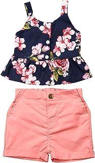 Toddler Girls Summer Short Set Halter Ruffle Top+Tassel Pineapple Pants Summer Clothes Outfit