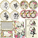Talking Tables Alice in Wonderland Party Supplies | Designer Mad Hatter Alice Paper Party Plates, Luncheon and Cocktail Paper Napkins and Food Platter