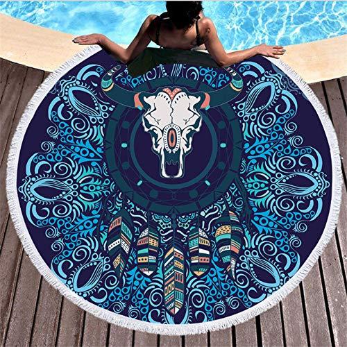 BCDJYFL 3D Strandtuch Bull Skull Dream Catcher Mikrofaser Rechteckigen Erwachsenen Strandtuch Kinder Sommer Yoga Matte.-Durchmesser: 150Cm