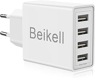 Caricatore USB, Beikell Caricatore USB da Muro a 4 Porte 5A / 25W con Tecnologia Smart-Adaptive di ricarica rapida