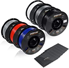 OVERTURE PETG Filament 1.75mm with 3D Build Surface 200 x 200 mm 3D Printer Consumables, 1kg Spool (2.2lbs), Dimensional Accuracy +/- 0.05 mm, Fit Most FDM Printer, Assorted Colors, 6 Spools