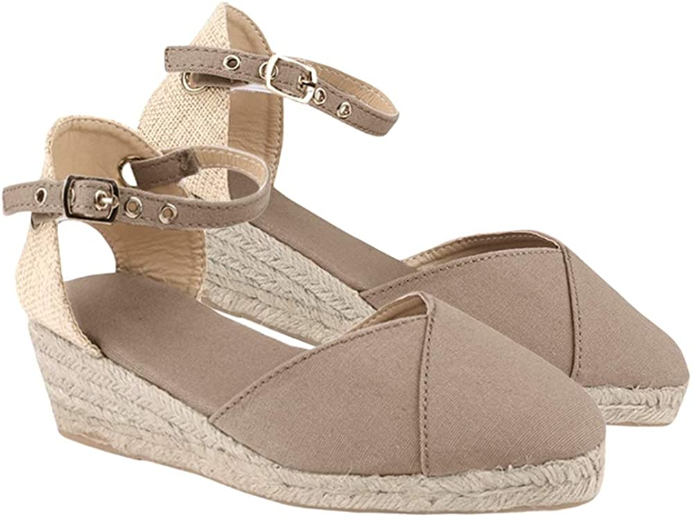Ermonn Womens Platform Espadrille Wedge Toe Sandals Ankle Max 79% OFF store Closed