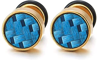 Mens Gold Stud Earrings with Blue Carbon Fiber, Steel Cheater Fake Ear Plugs Gauges Illusion Tunnel