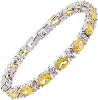 Oval Cut Multi-Color CZ Birthstone 18K White Gold Plated Tennis Bracelet, 7