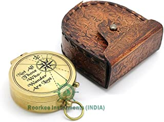 ROORKEE INSTRUMENTS (INDIA) A NAUTICAL REPRODUCTION HOUSE Not All Those. Solid Brass Compass W/Anchor Embossed Leather Case