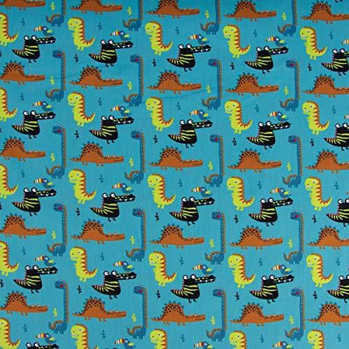 Mooi leven. Katoenen stof krokodil dinosaurus vogel met bonte snabel blauw bont 1,45 m breedte