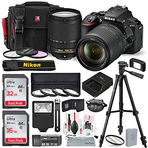 Nikon D5600 DSLR Camera with NIKKOR 18-140mm Lens W/ Total of 48 GB Memory Card + Filters + 4pc 67mm Macro Lens + Xpix Lens Handling accessories and Basic Bundle