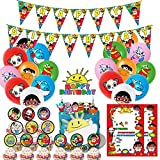 Nelton Birthday Party Supplies For Ryans Toy World Includes Banner - Cake Topper - 24 Cupcake Toppers - 18 Balloons - 15 Invitation Cards
