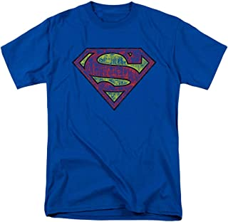 Superman Distressed Logo S Shield Royal T Shirt & Exclusive Stickers
