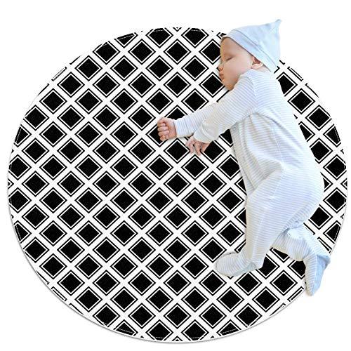 Zwart Vierkant Grote baby tapijt, kleuterschool kinderen ronde warme zachte mat vloerbedekking, antislip kinderen Peuter slaapkamer