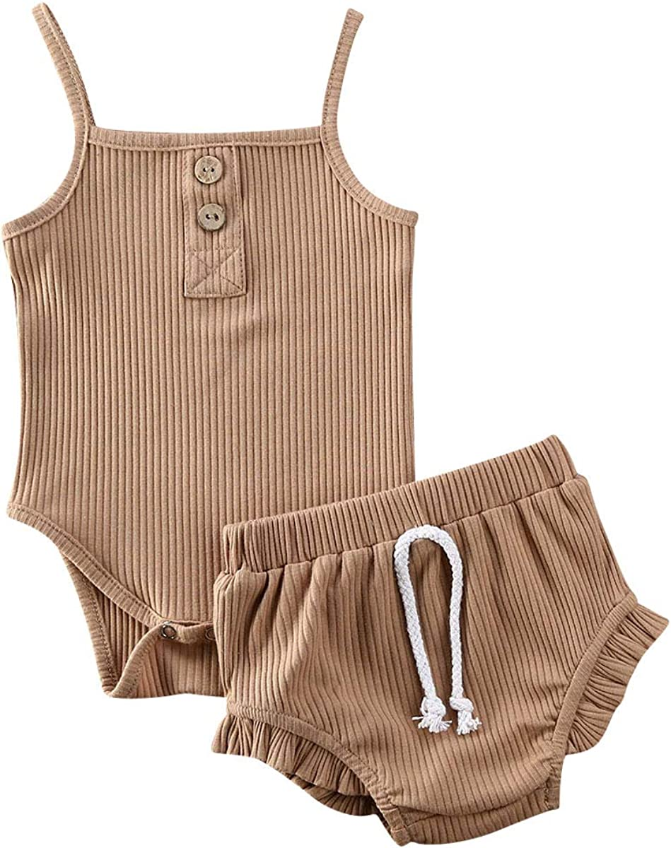 Infant Baby Girls Summer Knit Outfits Button Halter Romper Ruffl